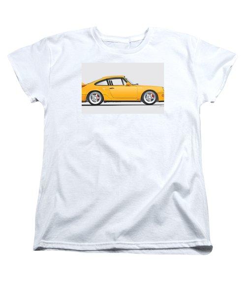 Porsche 964 Carrera Rs Illustration In Yellow. Women's T-Shirt (Standard Cut) by Alain Jamar