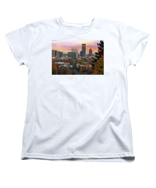 Portland Downtown Cityscape During Sunrise In Fall Women's T-Shirt (Standard Fit)