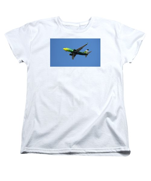 Women's T-Shirt (Standard Cut) featuring the photograph Portland Timbers - Alaska Airlines N607as by Aaron Berg