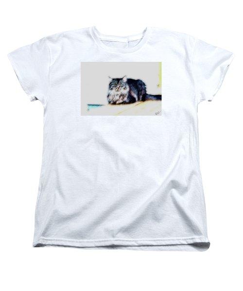 Portrait Of Maine Coon, Mattie Women's T-Shirt (Standard Cut) by Gina O'Brien