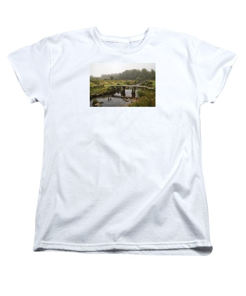 Women's T-Shirt (Standard Cut) featuring the photograph Postbridge Clapper Bridge In Dartmoor  by Shirley Mitchell