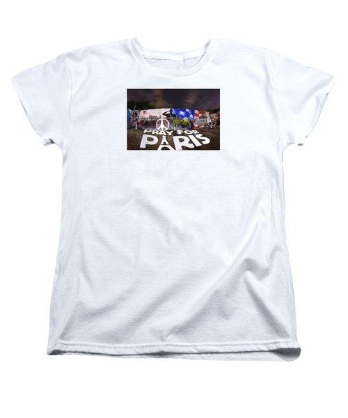 Pray For Paris Women's T-Shirt (Standard Cut) by Andrew Nourse