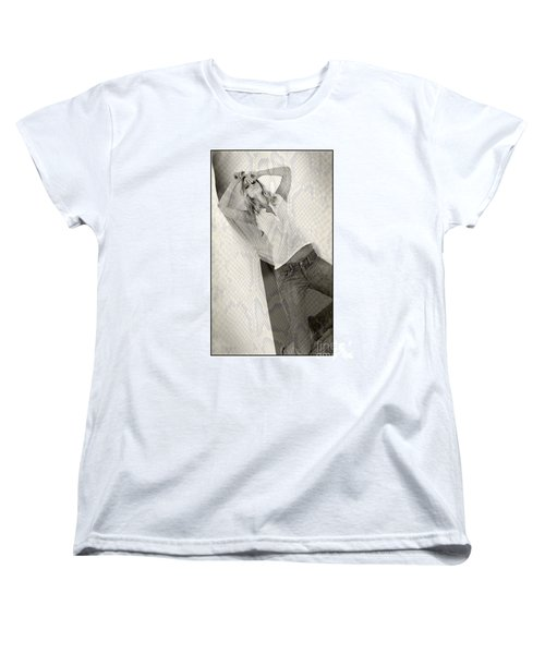 Women's T-Shirt (Standard Cut) featuring the photograph Pretty Girl On Her Knees by Michael Edwards
