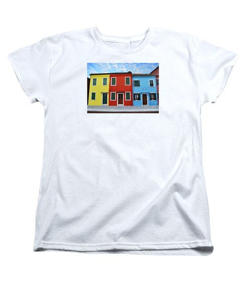 Primary Colors Too Burano Italy Women's T-Shirt (Standard Cut) by Rebecca Margraf