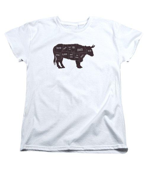 Primitive Butcher Shop Beef Cuts Chart T-shirt Women's T-Shirt (Standard Cut) by Edward Fielding