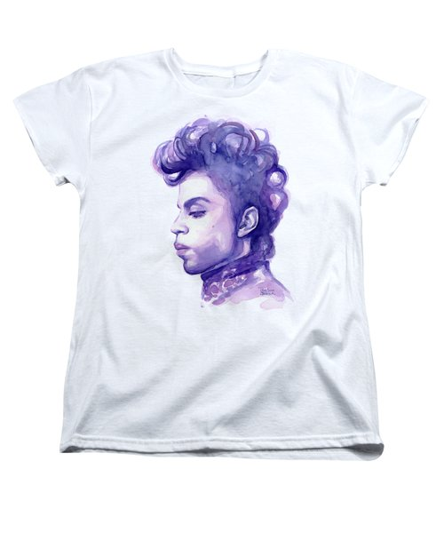 Prince Musician Watercolor Portrait Women's T-Shirt (Standard Cut)