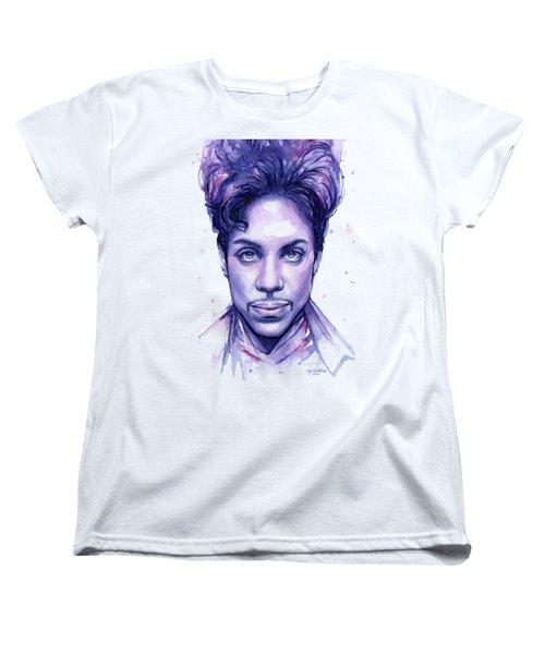 Prince Purple Watercolor Women's T-Shirt (Standard Cut) by Olga Shvartsur