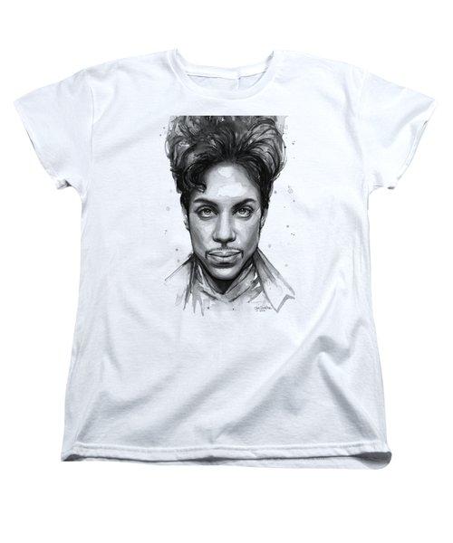 Prince Watercolor Portrait Women's T-Shirt (Standard Cut) by Olga Shvartsur