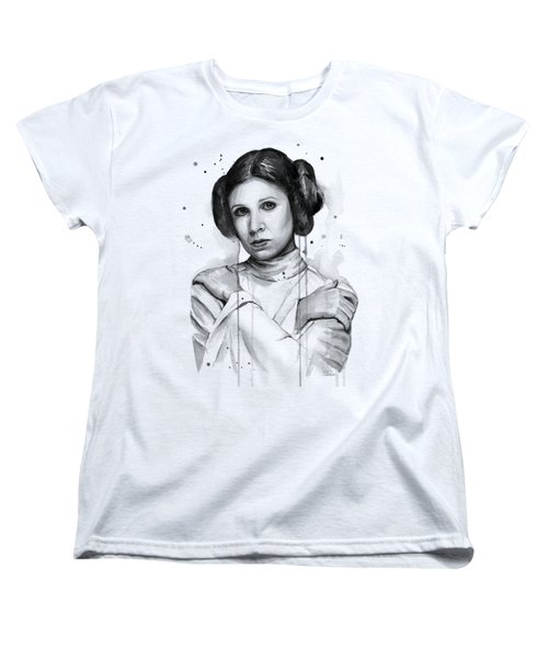 Princess Leia Portrait Carrie Fisher Art Women's T-Shirt (Standard Cut) by Olga Shvartsur