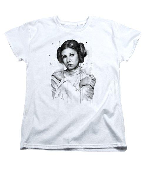 Princess Leia Portrait Carrie Fisher Art Women's T-Shirt (Standard Cut)