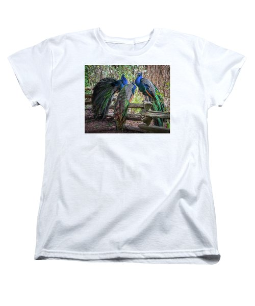 Proud As Three Peacocks Women's T-Shirt (Standard Cut) by Keith Boone