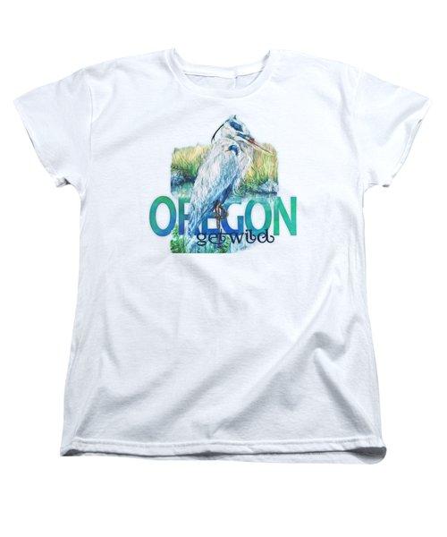 Puddletown Great Blue Heron Women's T-Shirt (Standard Cut) by Kara Skye