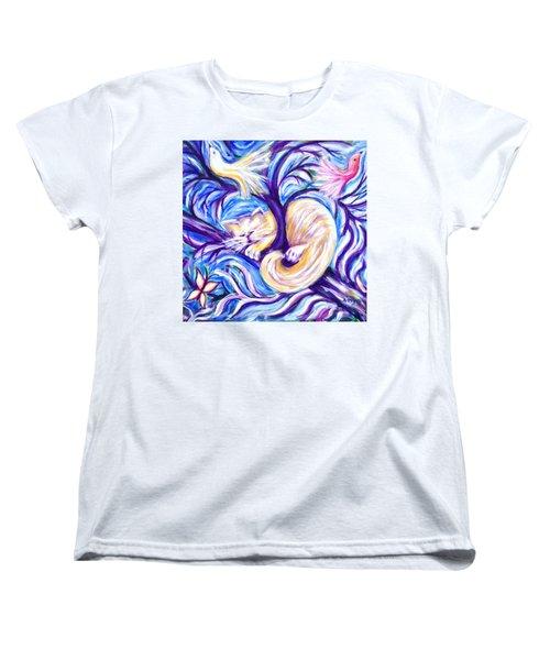 Women's T-Shirt (Standard Cut) featuring the painting Pumpkin In A Tree by Anya Heller