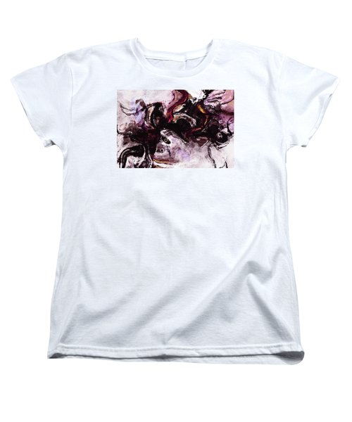 Women's T-Shirt (Standard Cut) featuring the painting Purple Abstract Painting / Surrealist Art by Ayse Deniz