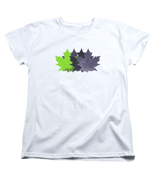 Purple And Green Leaves Women's T-Shirt (Standard Cut) by Methune Hively