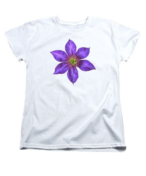Purple Clematis Flower With Soft Look Effect Women's T-Shirt (Standard Cut) by Rose Santuci-Sofranko