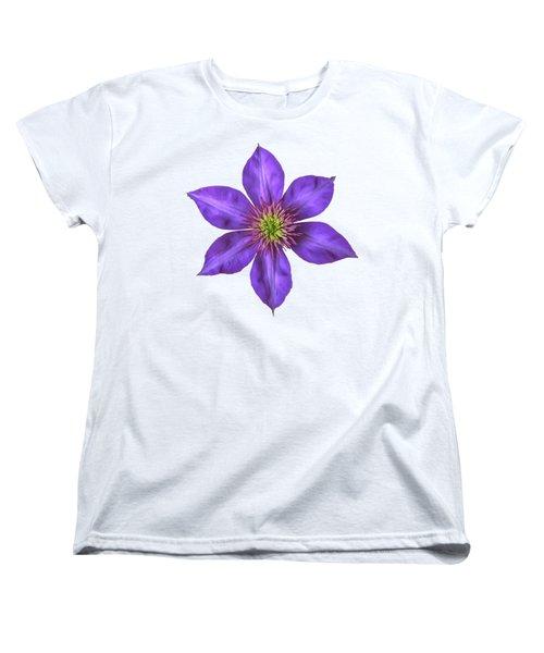 Purple Clematis Flower With Soft Look Effect Women's T-Shirt (Standard Cut)