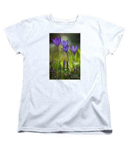 Women's T-Shirt (Standard Cut) featuring the photograph Purple Crocus Flowers by Jean Bernard Roussilhe