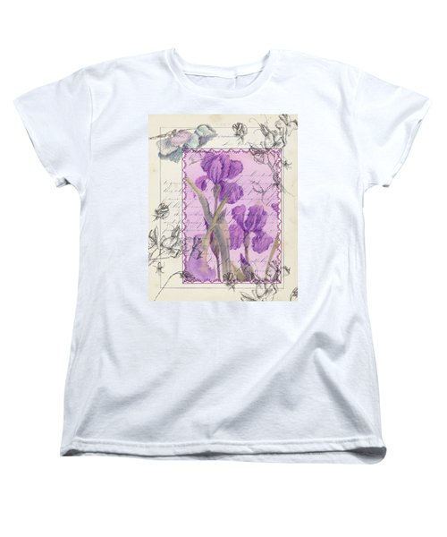 Women's T-Shirt (Standard Cut) featuring the drawing Purple Iris by Cathie Richardson