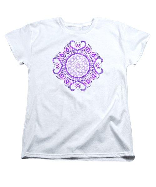Women's T-Shirt (Standard Cut) featuring the digital art Purple Lotus Mandala by Tammy Wetzel