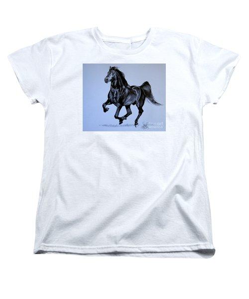 The Black Quarter Horse In Bic Pen Women's T-Shirt (Standard Cut) by Cheryl Poland