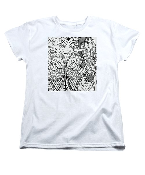 Women's T-Shirt (Standard Cut) featuring the drawing Queen Of Spades Close Up With Dragon by Jani Freimann