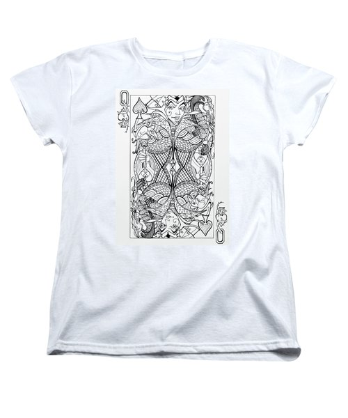 Women's T-Shirt (Standard Cut) featuring the drawing Queen Of Spades  by Jani Freimann