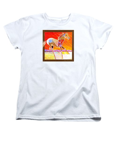 Women's T-Shirt (Standard Cut) featuring the painting Racing The Desert by Bob Coonts