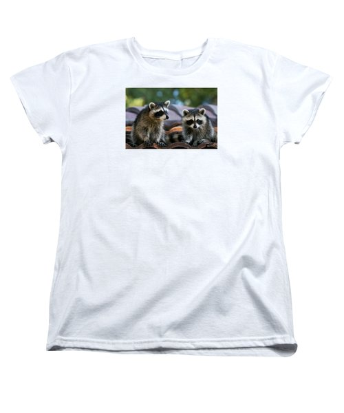 Racoons On The Roof Women's T-Shirt (Standard Cut) by Dorothy Cunningham