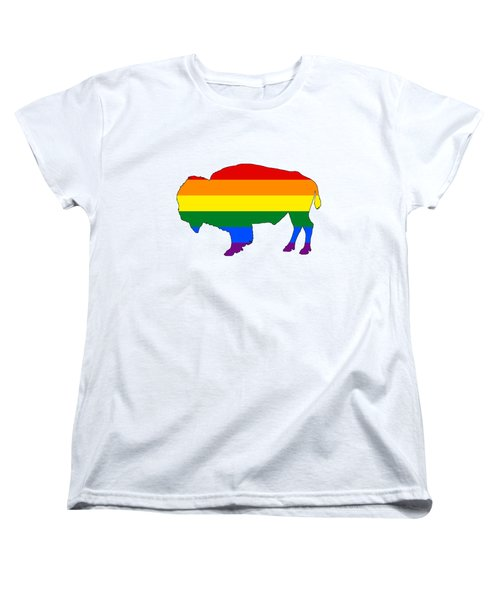 Rainbow Bison Women's T-Shirt (Standard Cut) by Mordax Furittus