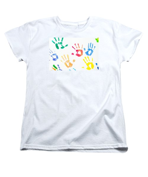 Women's T-Shirt (Standard Cut) featuring the photograph Rainbow Color Arms Prints 1 by Jenny Rainbow