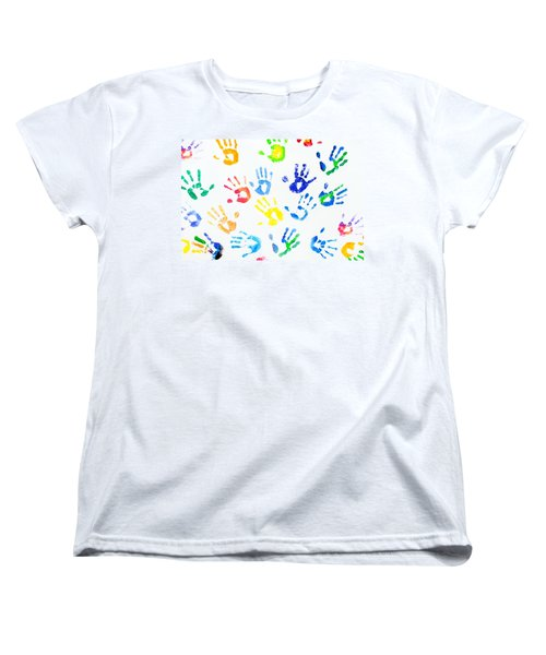 Women's T-Shirt (Standard Cut) featuring the photograph Rainbow Colors Arm Prints Abstract by Jenny Rainbow