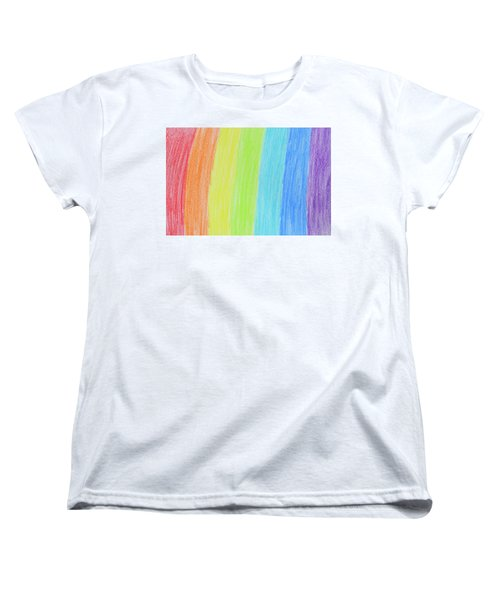 Rainbow Crayon Drawing Women's T-Shirt (Standard Cut) by GoodMood Art