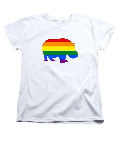 Rainbow Hippo Women's T-Shirt (Standard Cut) by Mordax Furittus