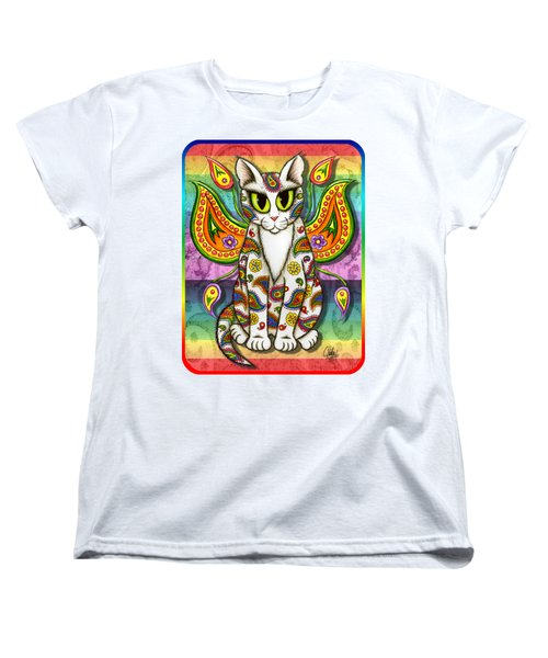 Women's T-Shirt (Standard Cut) featuring the mixed media Rainbow Paisley Fairy Cat by Carrie Hawks