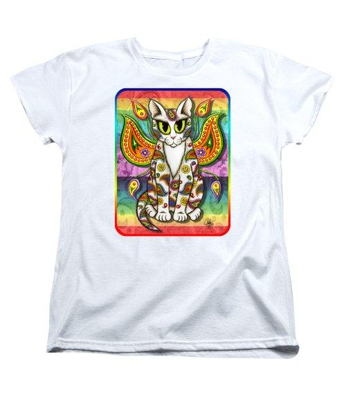 Rainbow Paisley Fairy Cat Women's T-Shirt (Standard Cut) by Carrie Hawks