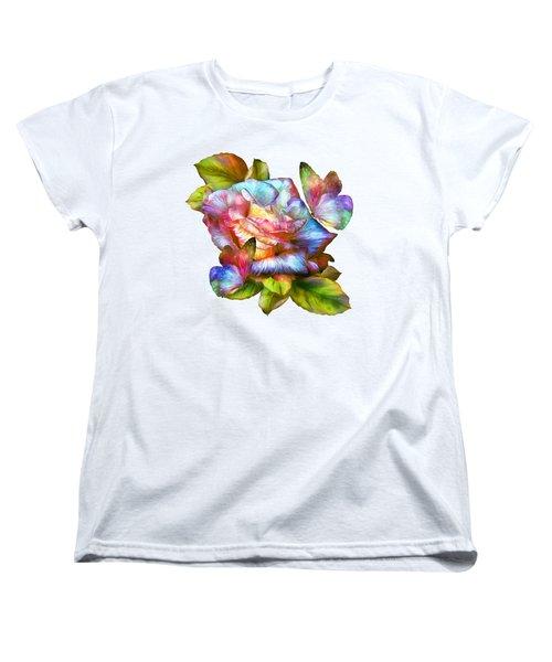 Rainbow Rose And Butterflies Women's T-Shirt (Standard Cut) by Carol Cavalaris