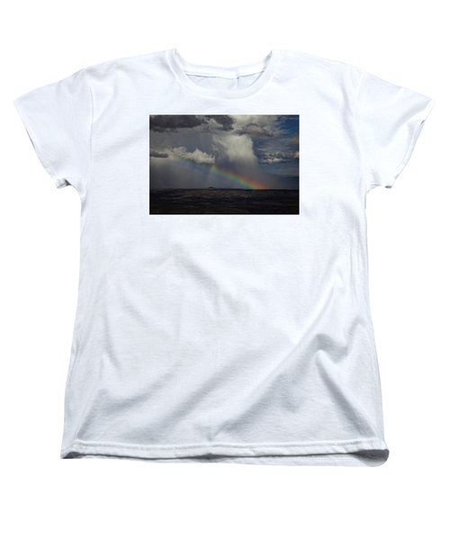 Women's T-Shirt (Standard Cut) featuring the photograph Rainbow Storm Over The Verde Valley Arizona by Ron Chilston