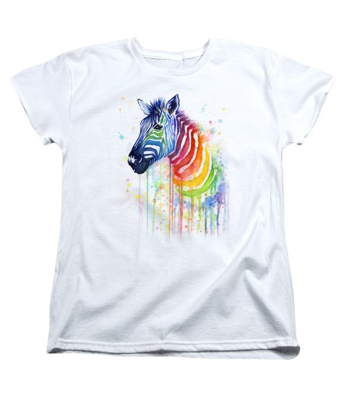 Rainbow Zebra - Ode To Fruit Stripes Women's T-Shirt (Standard Cut) by Olga Shvartsur