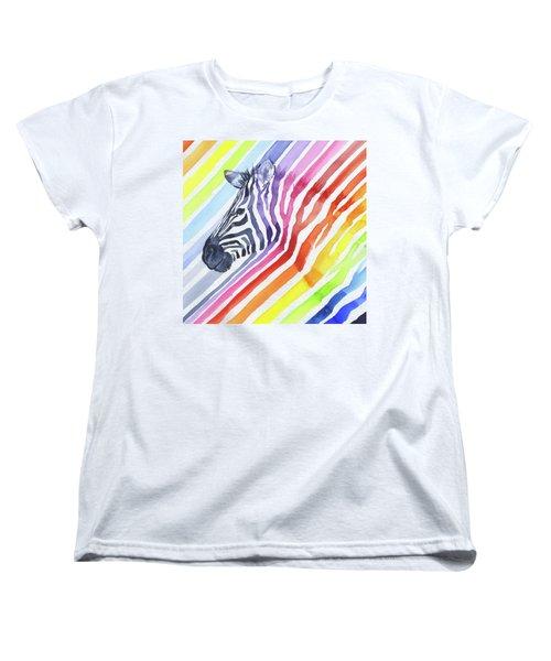 Rainbow Zebra Pattern Women's T-Shirt (Standard Fit)