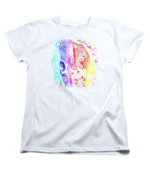 Rainbow Zentangle Elephant Women's T-Shirt (Standard Cut) by Becky Herrera