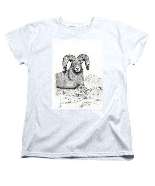 Women's T-Shirt (Standard Cut) featuring the drawing Ram by Mayhem Mediums