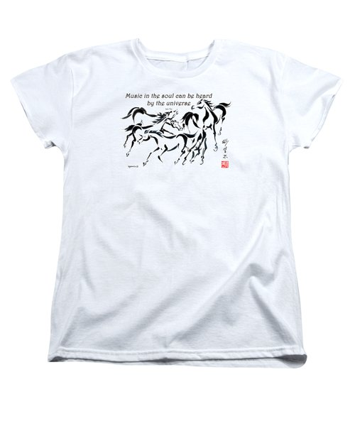 Women's T-Shirt (Standard Cut) featuring the painting Rambunctious With Lao Tzu Quote I by Bill Searle