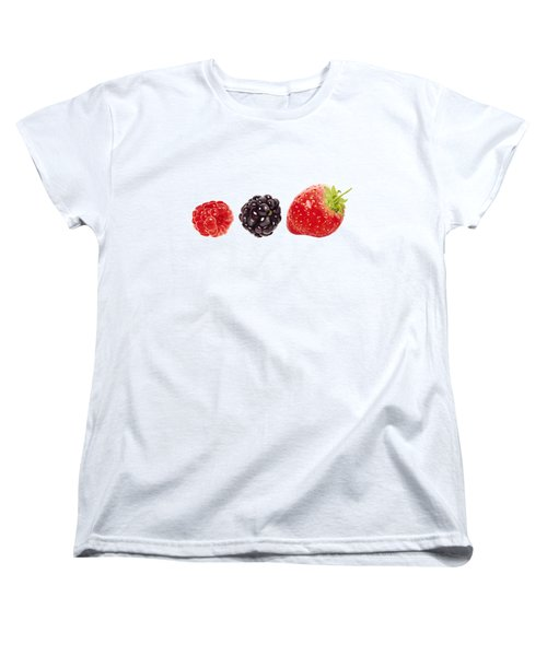 Raspberry, Blackberry And Strawberry In Watercolor Women's T-Shirt (Standard Cut) by Kathleen Skinner