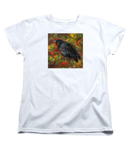 Raven In Autumn Women's T-Shirt (Standard Cut) by FT McKinstry