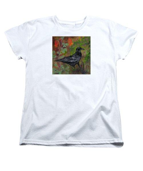Raven In Columbine Women's T-Shirt (Standard Cut) by FT McKinstry