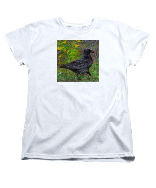 Raven In Goldenrod Women's T-Shirt (Standard Cut) by FT McKinstry