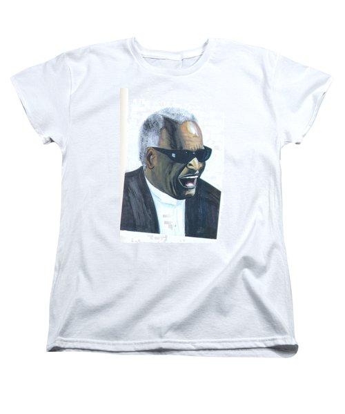 Women's T-Shirt (Standard Cut) featuring the painting Ray Charles by Emmanuel Baliyanga