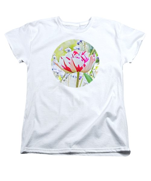 Red And White Tulip Women's T-Shirt (Standard Cut) by Terri Waters