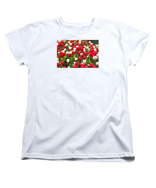 Red And White Tulips Women's T-Shirt (Standard Cut) by Bev Conover